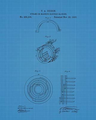 Thomas Edison's Dynamo Magneto Electric Machine Blueprint Patent Poster by Dan Sproul