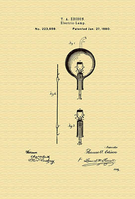 Thomas Edison's Electric Lamp Patent Poster by Mountain Dreams