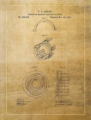 Thomas Edison's Generator Patent Poster by Dan Sproul