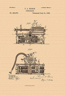 Thomas Edison's Phonograph Patent Poster by Mountain Dreams