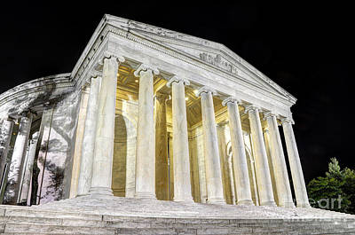 Thomas Jefferson Memorial At Night  Poster by Gary Whitton