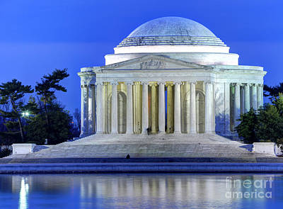 Thomas Jefferson Memorial At Night Reflected In Tidal Basin Poster by Gary Whitton