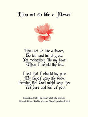 Thou Art So Like A Flower Poster