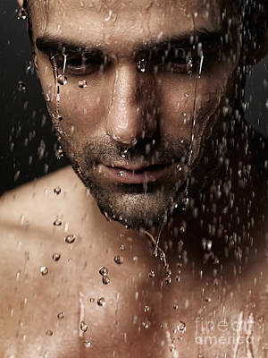 Thoughtful Man Face Under Pouring Water Poster