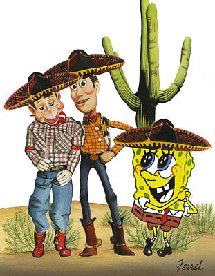 Poster featuring the painting Three Amigos by Ferrel Cordle