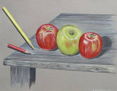 Three Apples Poster by Gina Gahagan