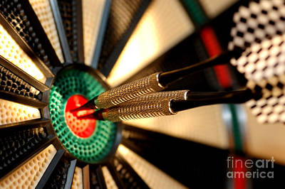 Three Arrows In The Centre Of A Dart Board Poster by Michal Bednarek
