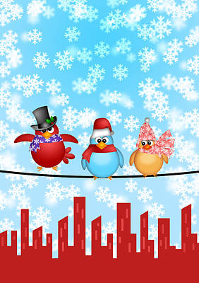 Three Birds On A Wire With City Skyline Christmas Scene Poster