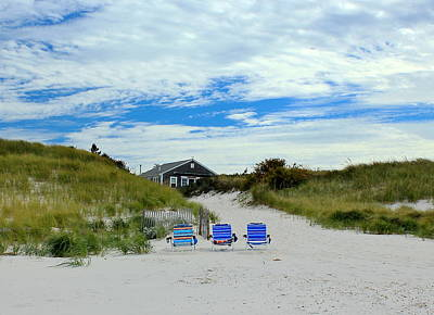 Poster featuring the photograph Three Blue Beach Chairs by Amazing Jules