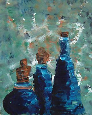 Three Blue Bottles Poster by Estefan Gargost