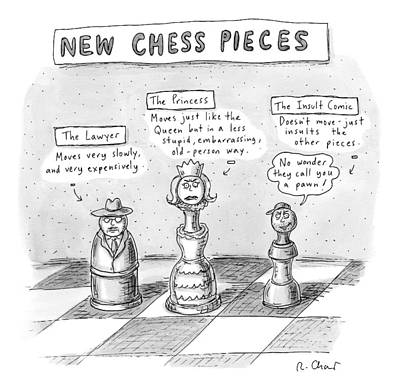 Three Chess Pieces Are Seen On A Chess Board Poster by Roz Chast