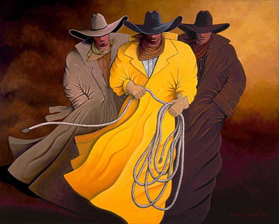 Poster featuring the painting Three Cowboys by Lance Headlee