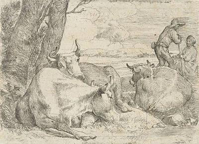 Three Cows And Two Shepherds, Jan Van Ossenbeeck Poster by Artokoloro