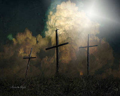 Three Crosses And A Dove Poster by Karen Slagle