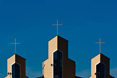Poster featuring the photograph Three Crosses Of Livingway Church  by Ed Gleichman