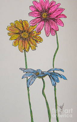 Three Daisies Poster by Marcia Weller-Wenbert
