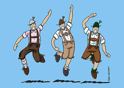 Three Dancing Oktoberfest Lederhosen Men Poster by Frank Ramspott