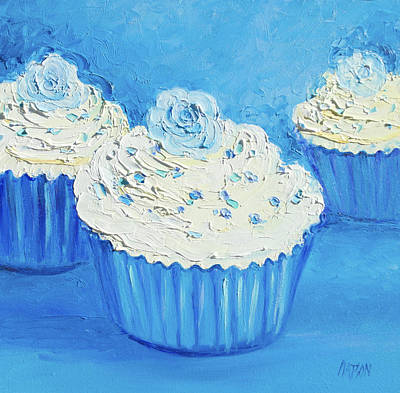 Three Delicious Cupcakes In A Blue Kitchen Poster
