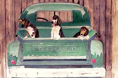 Three Dogs And A Truck Poster by Polly Peacock