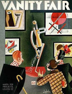 Three Figures Looking At A Modern Sculpture Poster by Constantin Alajalov