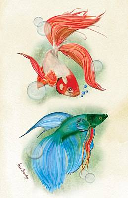 Three Fish Poster by Anne Beverley-Stamps