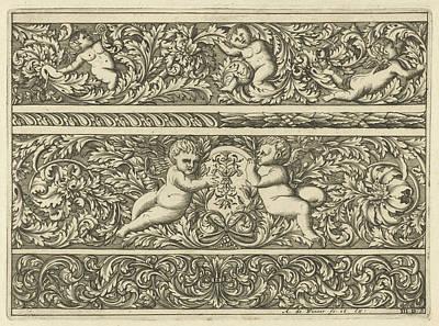 Three Friezes With Leaf Tendrils, Print Maker Anthonie De Poster by Anthonie De Winter