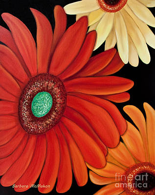 Poster featuring the painting Three Gerbera by Barbara McMahon