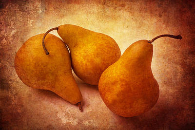 Three Gold Pears Poster by Garry Gay