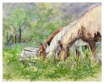 Three Grazing Horses Poster by Marilyn Horst