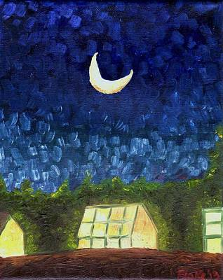 Three Greenhouses Under A Crescent Moon Poster