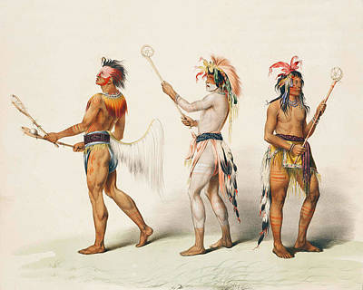 Three Indians Playing Lacrosse Poster by Unknown