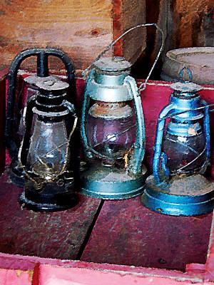 Three Kerosene Lamps Poster by Susan Savad