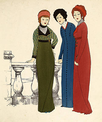 Three Ladies In Dresses Colour Lithograph Poster