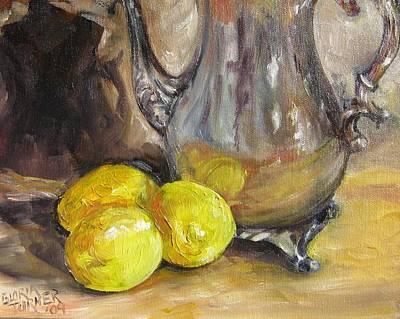 Three Lemons Poster by Gloria Turner