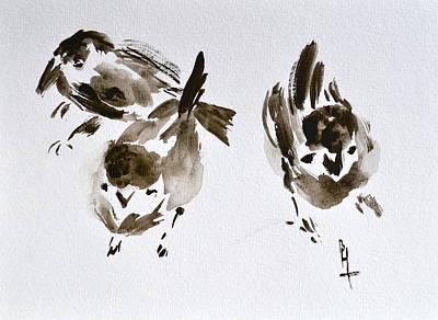 Three Little Birds Perch By My Doorstep Poster by Beverley Harper Tinsley
