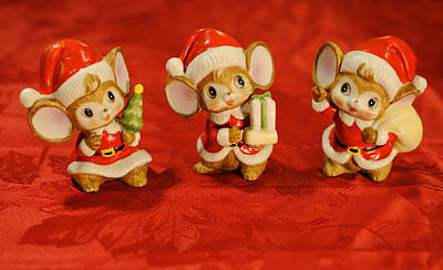 Three Little Christmas Mice Poster by Luke Moore
