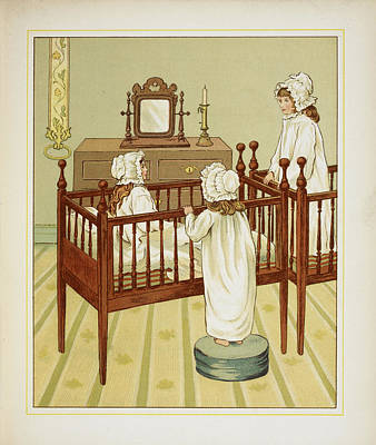 Three Little Girls In Nursery Cots Poster by British Library