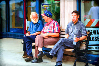 Three Men On A Bench Poster by John Haldane