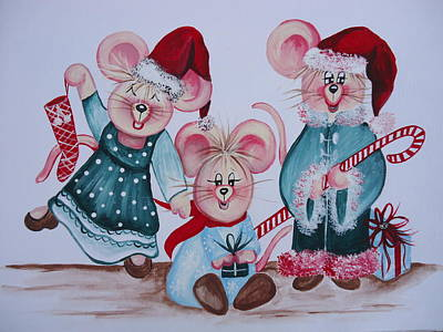 Poster featuring the painting Three Merry Mice by Leslie Manley