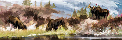 Three Moose Poster