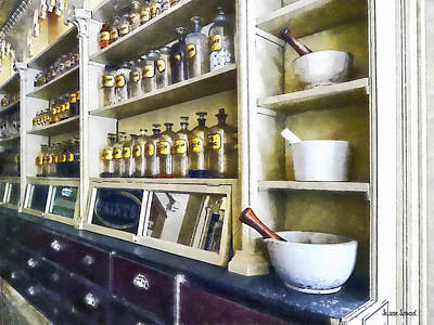 Three Mortar And Pestles In Pharmacy Poster
