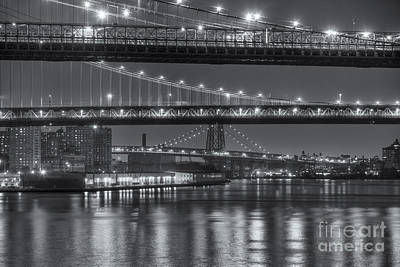 Three New York Bridges II Poster by Clarence Holmes