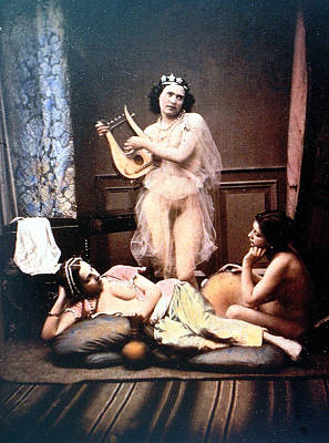 Three Nudes And A Harp Poster