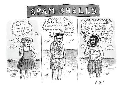 Three Panels Of People In Swimsuits On The Beach Poster by Roz Chast