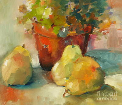 Poster featuring the painting Three Pears And A Pot by Michelle Abrams
