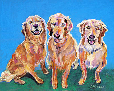 Three Playful Goldens Poster by Julie Maas