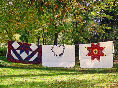 Three Quilts Poster by Jean Hall
