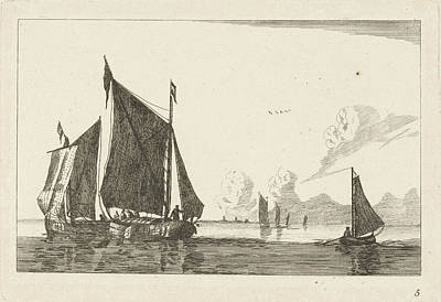 Three Sailboats In Calm Water, Print Maker Anonymous Poster