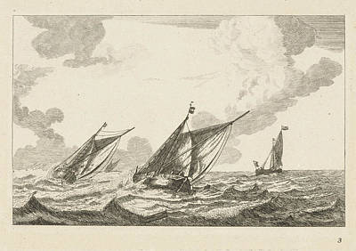 Three Sailboats On A Rough Sea, Anonymous Poster
