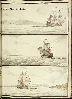 Three Ships Under Full Sail Poster by British Library